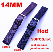 Wholesale 50PCS/lots High quality 14MM 100% genuine leather Watch strap watch bands  020802