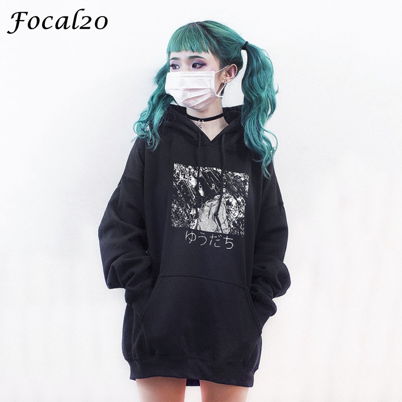 Focal20 Harajuku Manga Girl Print Women Fleeces Hoodies Gothic Punk Oversize Velvet Hooded Sweatshirt Pullover Streetwear ...