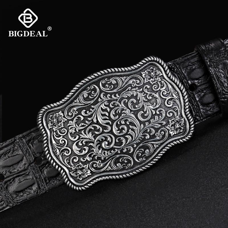 BIGDEAL Original Cowhide Belt For Men Pin Buckle Full Grain Leather Belt For Jeans Wide Strap High Quality Cummerbunds