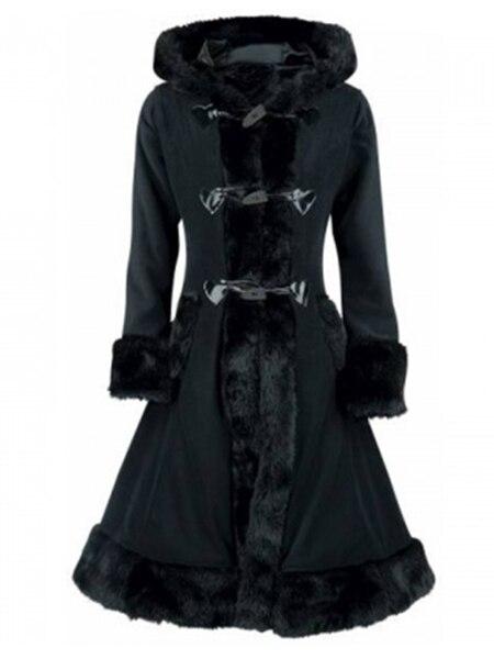 Black Hooded Winter Wool Coat Full Sleeve Autumn Winter Warm Female Long Cloaks Outwear Back Lace Up Wool Coat