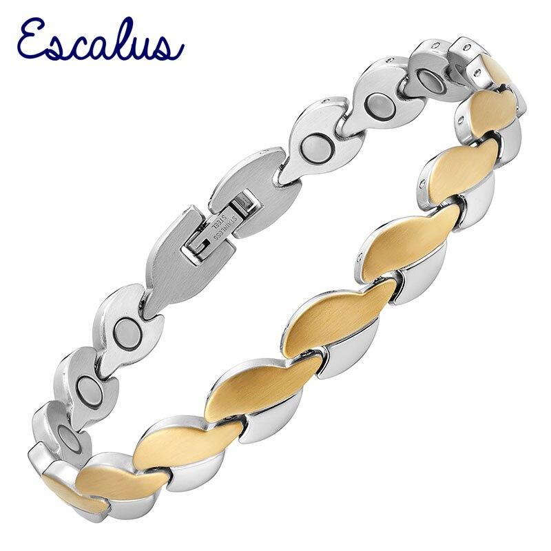 Escalus офисные био здоровья сердца Для женщин браслет 2-тон Ионные Покрытие Магнитная высшего качества браслет Шарм