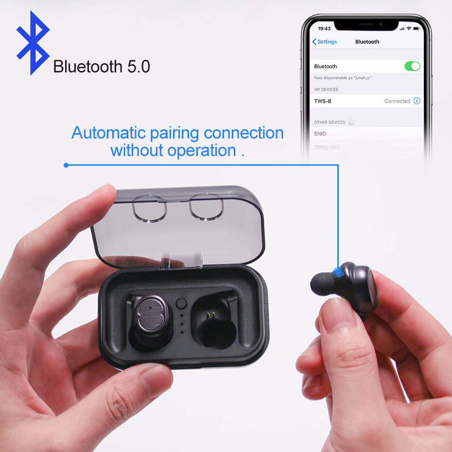TOPYING True Wireless Earphone Mini Earbuds Bluetooth 5 0 Earphone HD Mic High Sound Quality Music Headset Earpiece for iPhone in Phone Earphones Headphones from Consumer Electronics