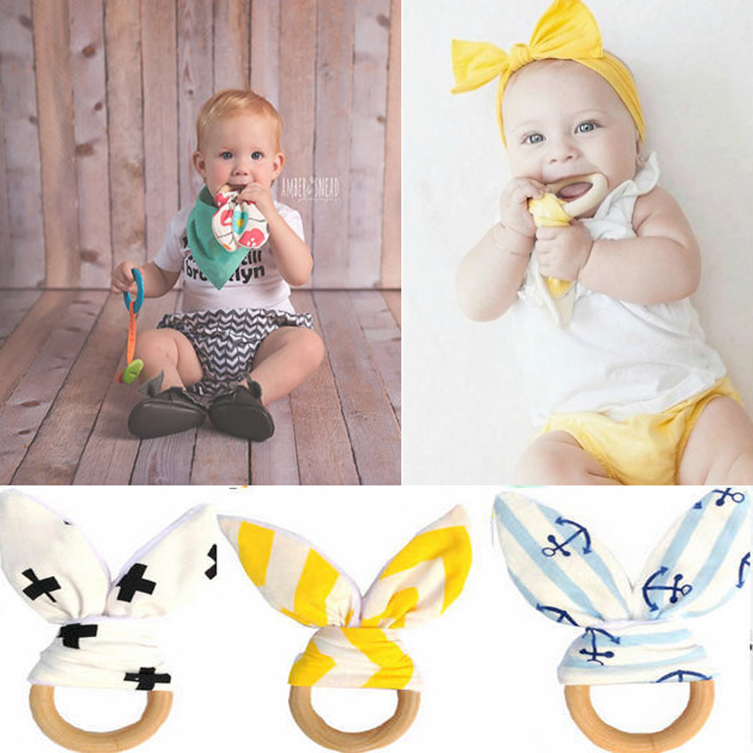 font b Baby b font Teethers Natural Wood Circle with Fabric Wooden Training Sensory font