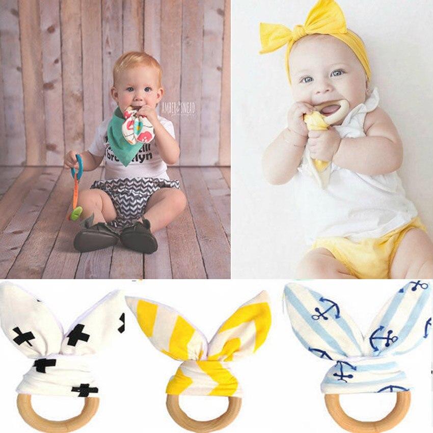 Baby Teethers Natural Wood Circle with Fabric Wooden Training Sensory Baby Aid Handmade Ring Teething Newborn Mom Kids Teether