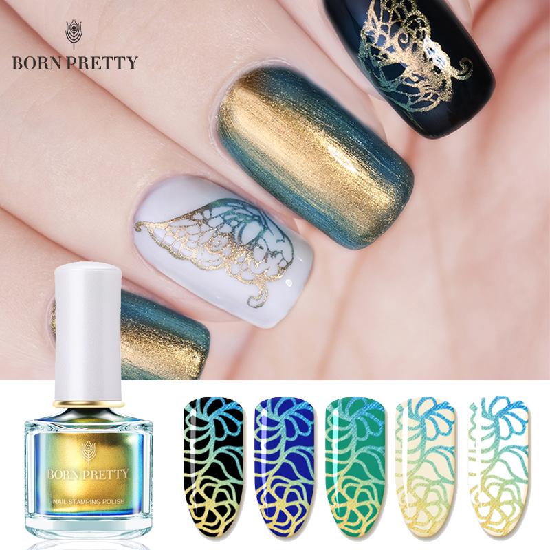 купить BORN PRETTY 6ml Chameleon Pearl Stamping Polish Colorful DIY Nail Stamp Polish Plate Printing Nail Art Lacquer по цене 339.31 рублей