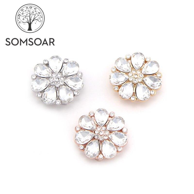 Somsoar ювелирные изделия 2,8 см роскошный хрустальный цветок большой размер Шармы скольжения подходят 10 мм сетчатый Браслет и кожаный браслет 10 шт./лот