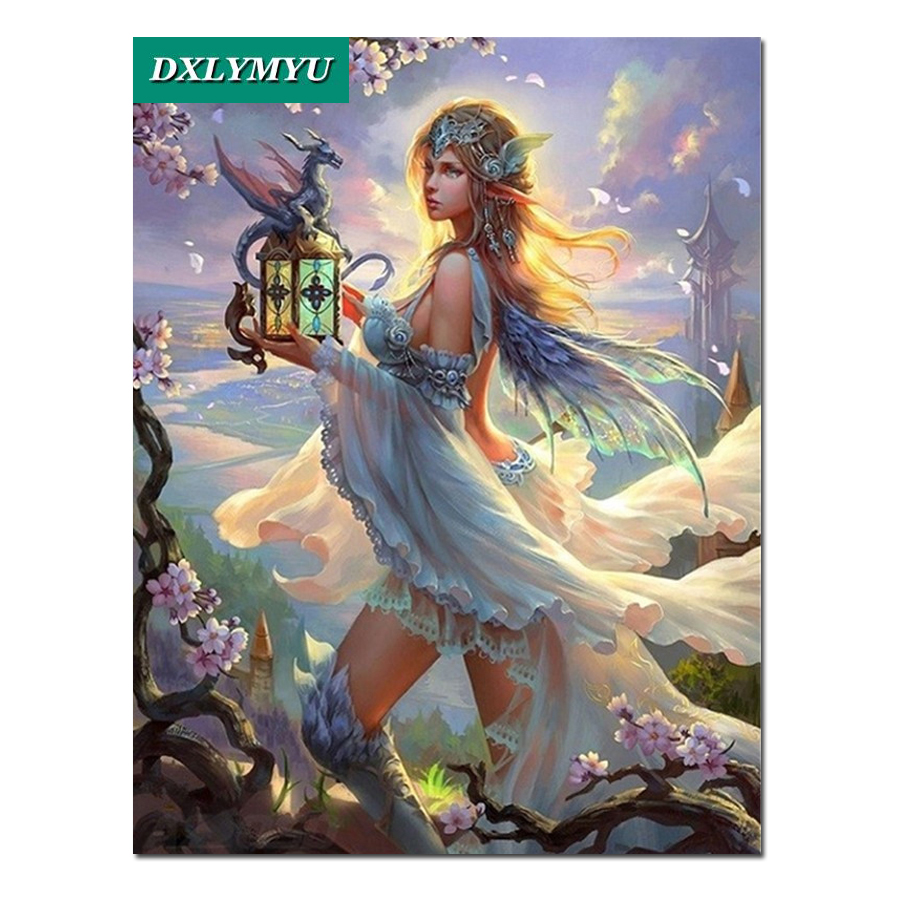 Diy Diamond Painting Wizard girl and Dragon Full Square Embroidery sale Cross Stitch Mosaic Crafts Needlework