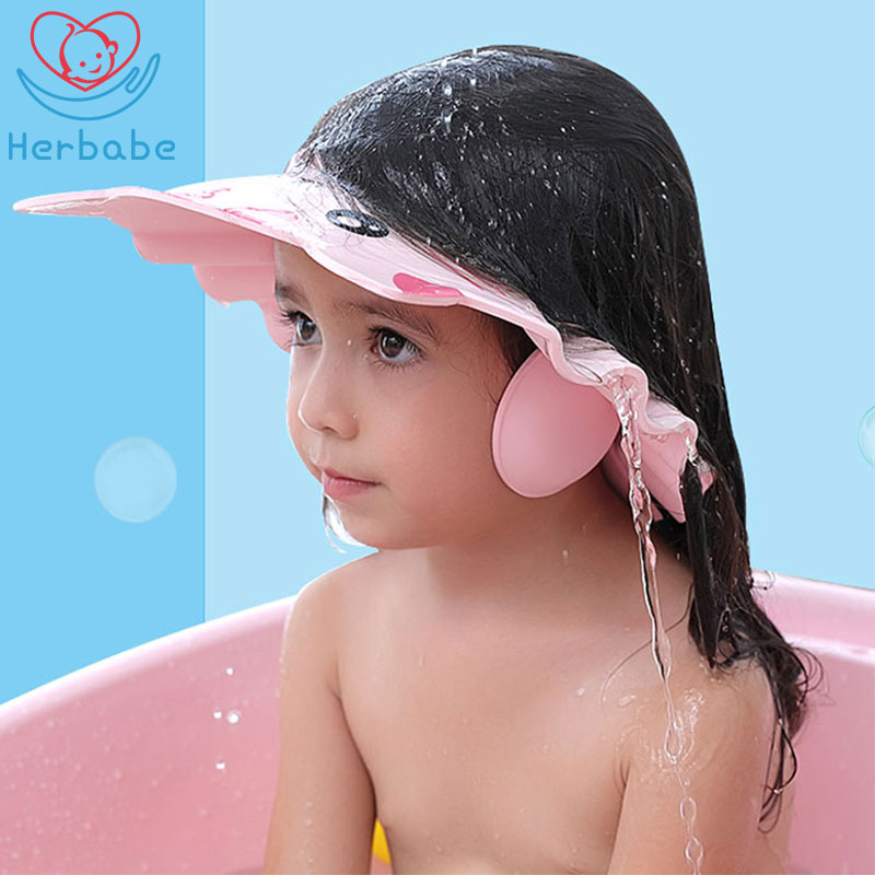 Herbabe Baby Shower Cap Adjustable Hair Washing Hat For Newborn Infant Ear Protection Kid Children Shampoo Cap Shower Shield Hat