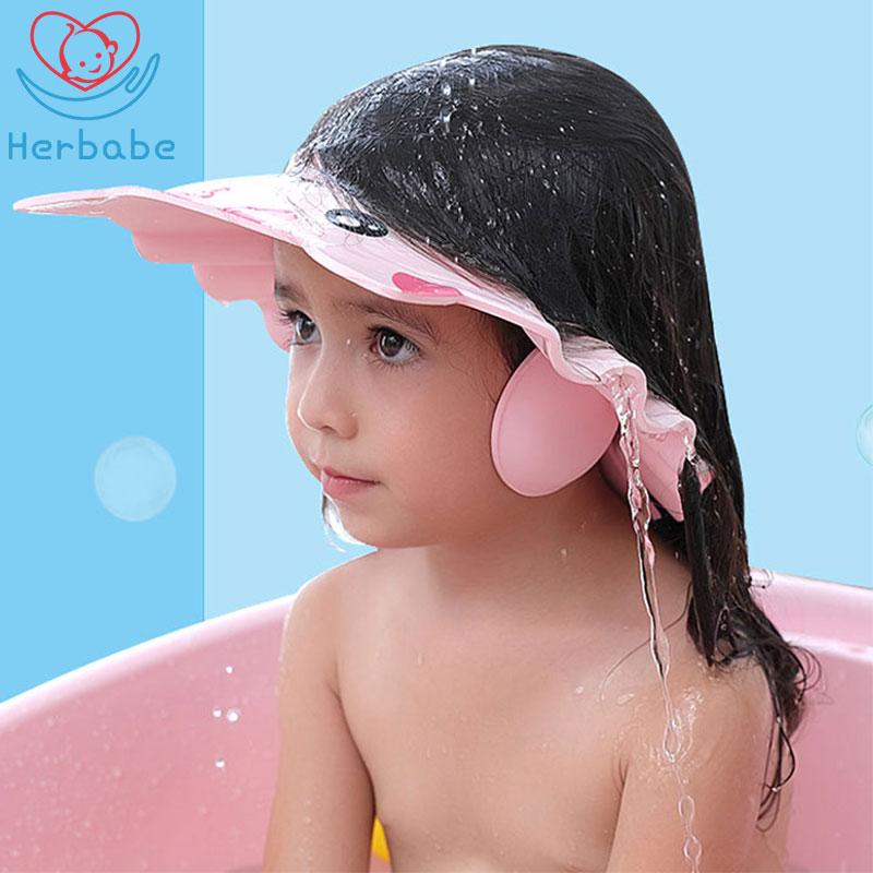 Herbabe Baby Shower Cap Adjustable Hair Washing Hat For Newborn Infant Ear Protection Kid Children Shampoo Cap Shower Shield Hat