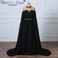 VAROO_ELSA Elegant Loose Long Sleeve Muslim Evening Dress Luxury Crystal Beaded Chiffon Arabic Prom Dress Black High Neck Gown