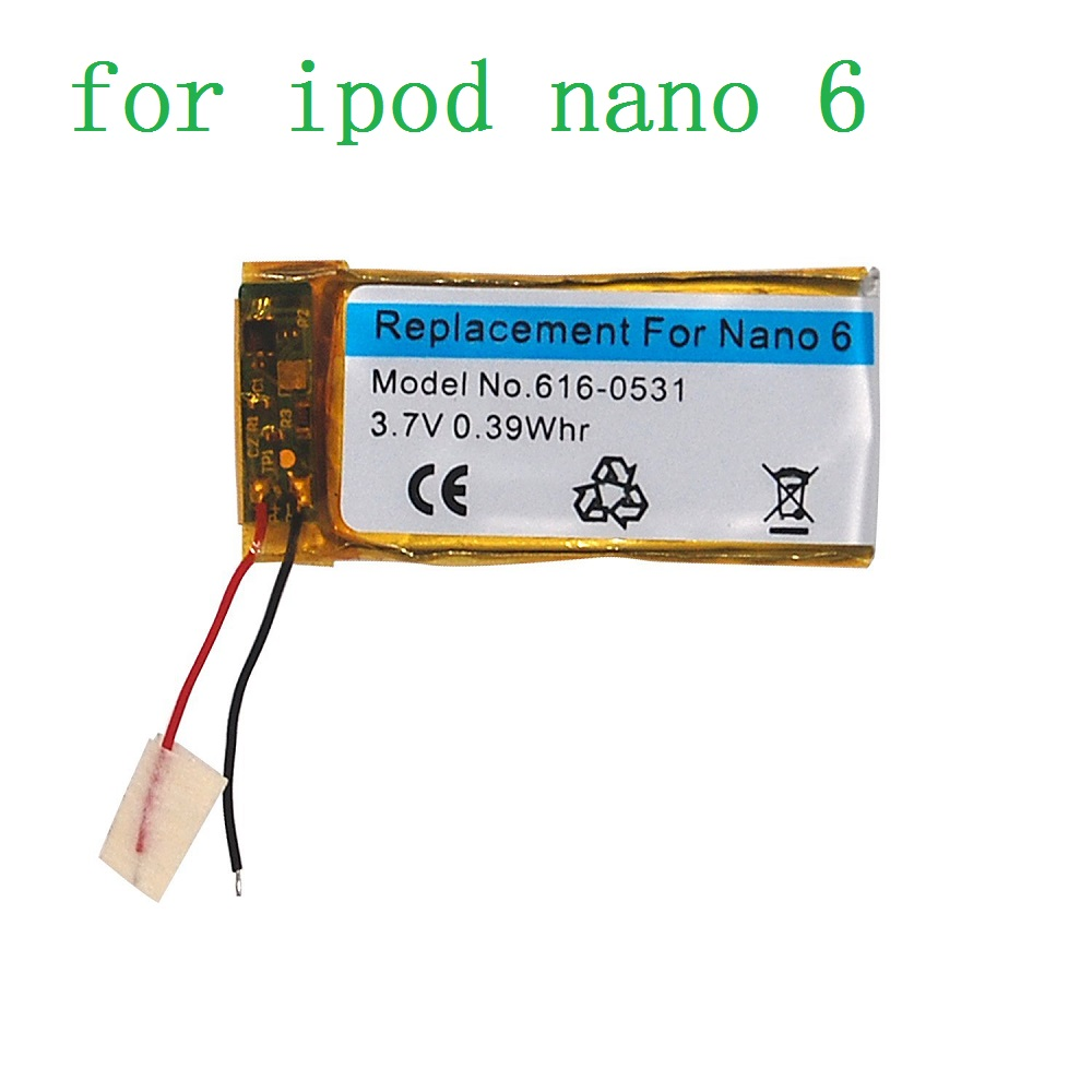 Replacement Battery for Apple iPod Nano 6th Gen 3.7V/0.39 WHR Li-Polymer Rechargeable Battery with Opening Pry Tool Kits mp3 плееры apple mp 3 проигрыватель ipod touch 32gb blue 6th gen голубой