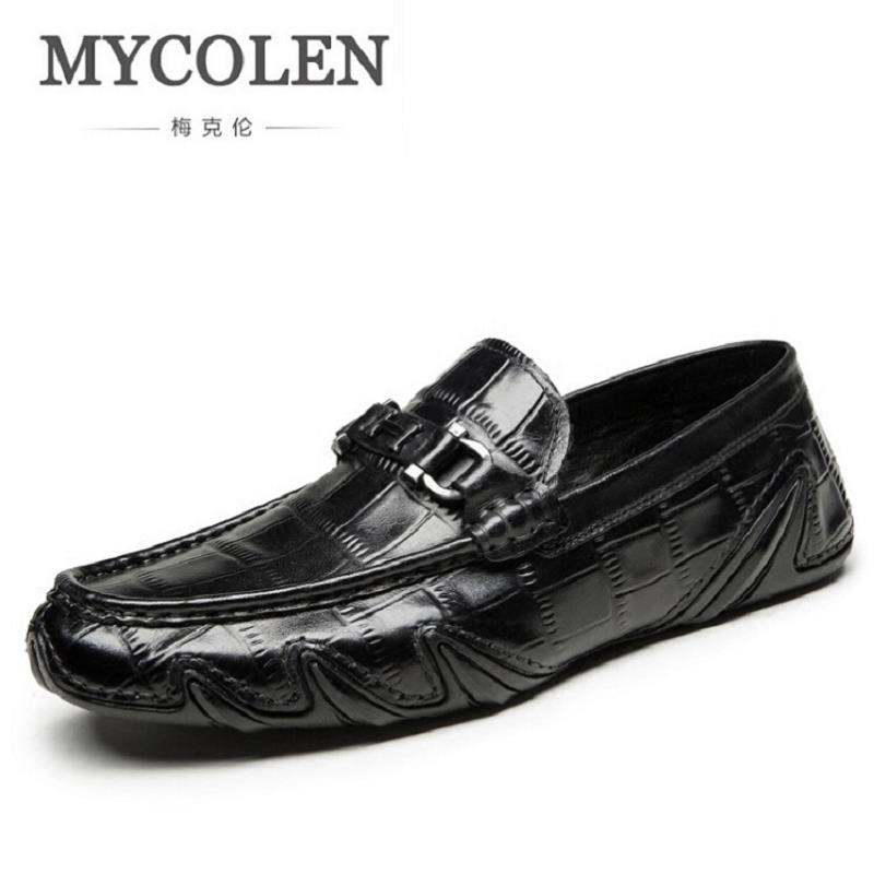 MYCOLEN Mens Loafers Genuine Leather Italian Luxury Crocodile Style Slip On Casual Dress Shoes For Male sapatos masculinos mycolen men loafers leather genuine luxury designer slip on mens shoes black italian brand dress loafers moccasins mens
