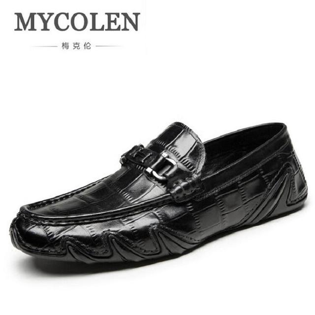 Mocasines piel auténtico italiano estilo del cocodrilo deslizamiento casual vestido, zapatos masculinos.
