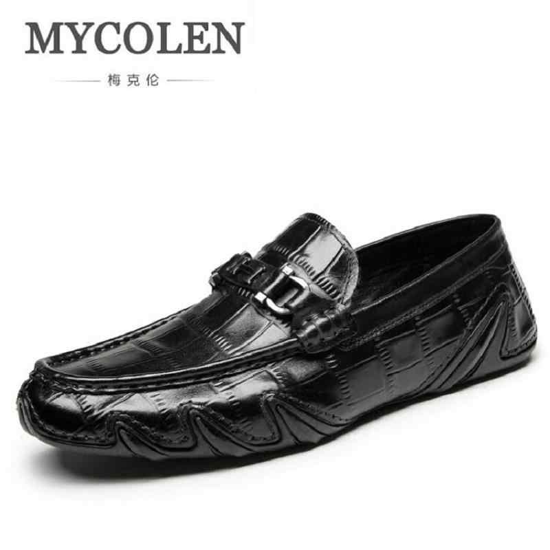 87498e51a35 Mycolen мужские Лоферы для женщин Пояса из натуральной кожи Роскошные  итальянские крокодил Стиль слипоны повседневная обувь