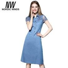 Nordic Winds 2017 Summer Dress Lace Up Hollow Out Turn Down Collar Button Cowboy Short Sleeve Cotton Denim Dresses Plus Size 4XL