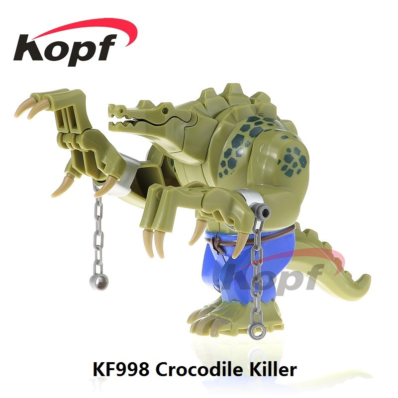 Single Sale KF998 10.5CM Big Size Super Heroes Crocodile Killer Batman Movie Dolls Kids Bricks Building Blocks Children Toys