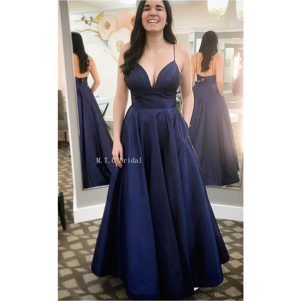 Simple Navy Blue Long   Prom     Dresses   Backless A Line Spaghetti Strap Sexy Wedding Party   Dress   2019 Hot Selling Evening Gowns Cheap