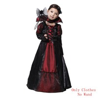 Halloween Girls Cosplay Vampire Long Robe Dresses magnificent Vampire Costumes With Lace Ribbon Choker (No Wand)