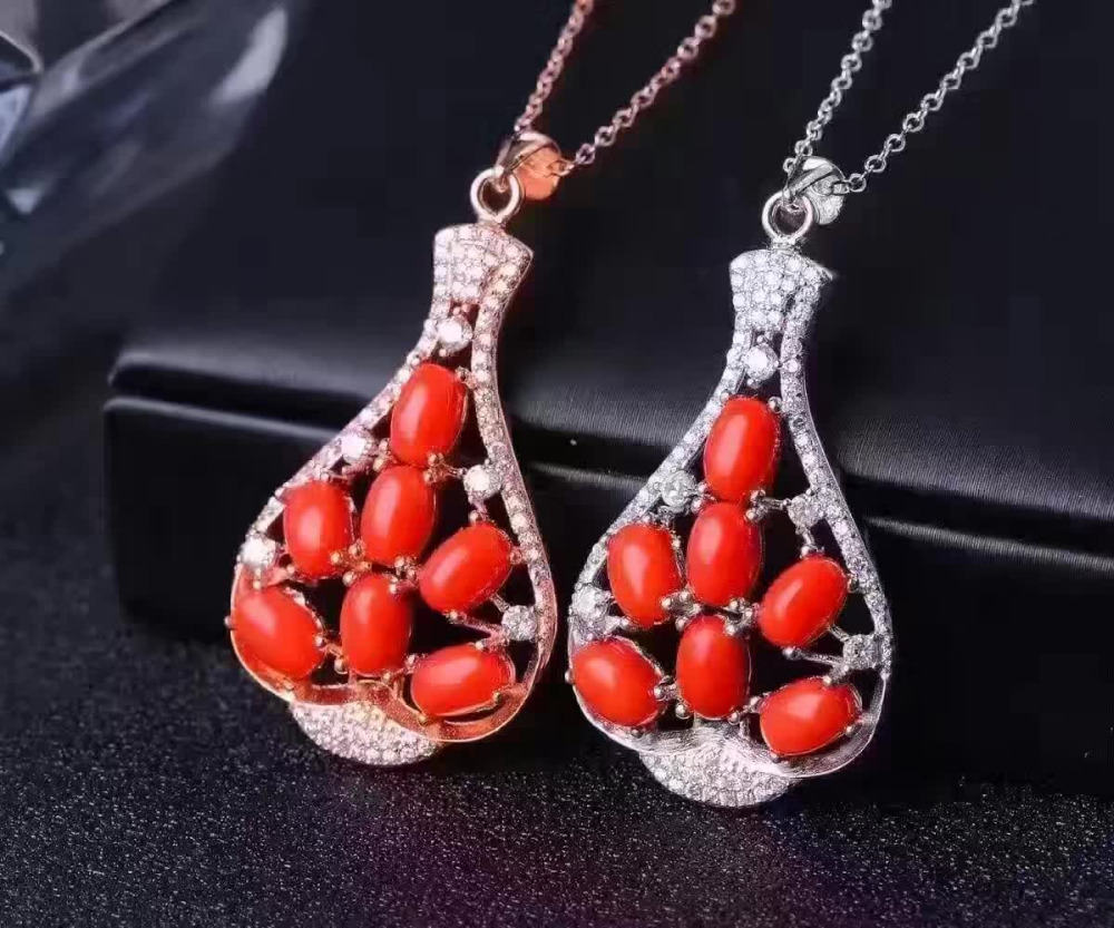 natural red coral gem pendant S925 silver Natural gemstone Pendant Necklace trendy Lucky identity bottle women party jewelrynatural red coral gem pendant S925 silver Natural gemstone Pendant Necklace trendy Lucky identity bottle women party jewelry