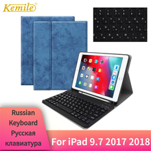 For iPad 9.7 2018 Case Bluetooth Keyboard W Pencil holder Leather Cover 2017 Pro Air 2 Russian