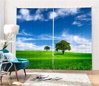 Grassland scene 3D Blackout Curtains Healthy non pollution Digital Print Customiz Design Tablecloth Shower Curtain Bedding