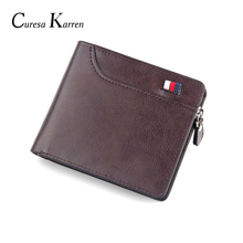 New mens short wallet Retro casual cross card bag Multi-function zipper leather  purse