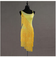 Yellow Fringed Women Latin Dance Dress Sparkly Rhinestones Competition Performance Clothing Female Adult Rumba Salsa Dresses