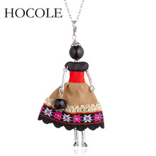 цена на HOCOLE Fashion Doll Pendant Necklace Lovely Dress Doll Necklaces & Pendants Maxi collares Women Collier Long Necklace Gift