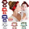 2 unids Material Barato Mamá Bebé Venda Heandbands Floral A Cuadros Niños Headwear Mamá Dots Pelo Desgaste KD446