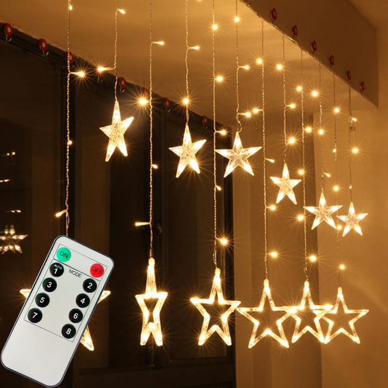 Christmas Lights + Remote Controller Romantic Fairy Star LED Curtain String Light For Holiday Wedding Garland Party Decoration