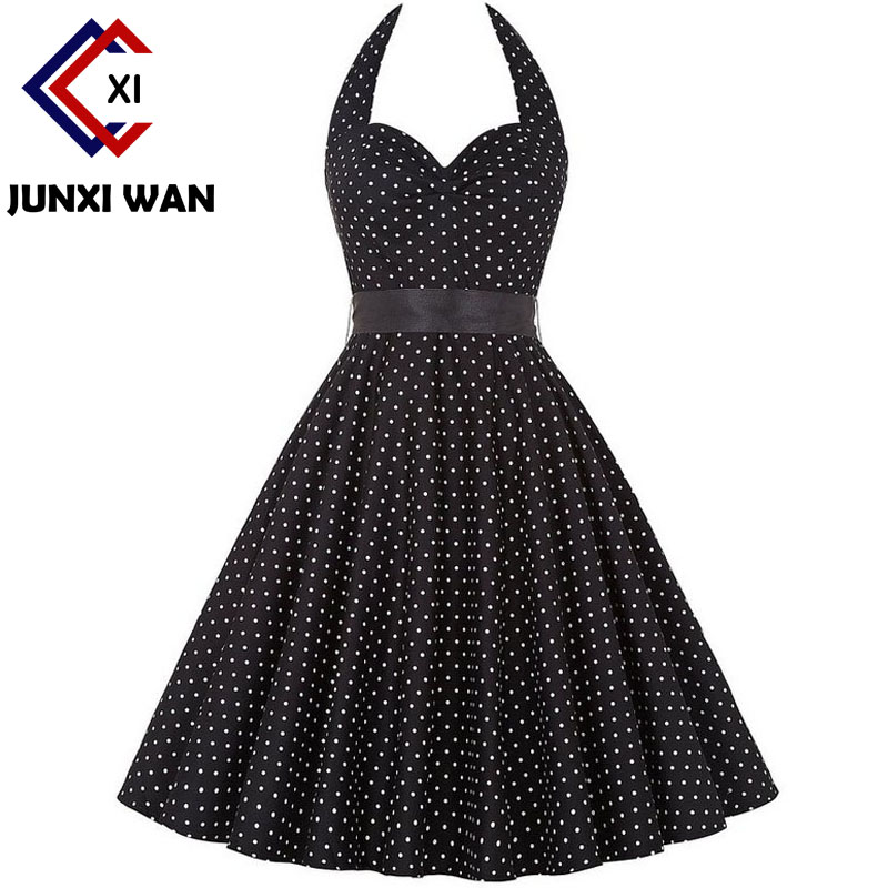 Polka Dot Dress Women Summer Halter Elegant Vintage Rockabilly Dresses Sexy Prom Party Sundress 2018 robe