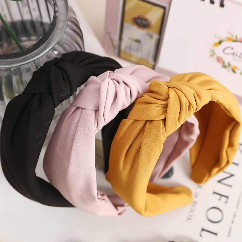 2018 Baru Desain Sederhana Lebar Ikat Kepala Wanita Kain Berkualitas Simpul Korea Rambut Aksesoris Gadis Manis Ikat Kepala Modis Headwear