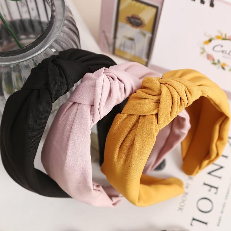 2018 New Design Simple Wide Hairbands Women Quality Fabric Knot Korean Hair Accessories Girl Sweet Headbands Fashion Headwear