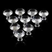 1pack 10Pcs 30mm Diamond Shape Crystal Glass Knob Cupboard Drawer Pull Handle New