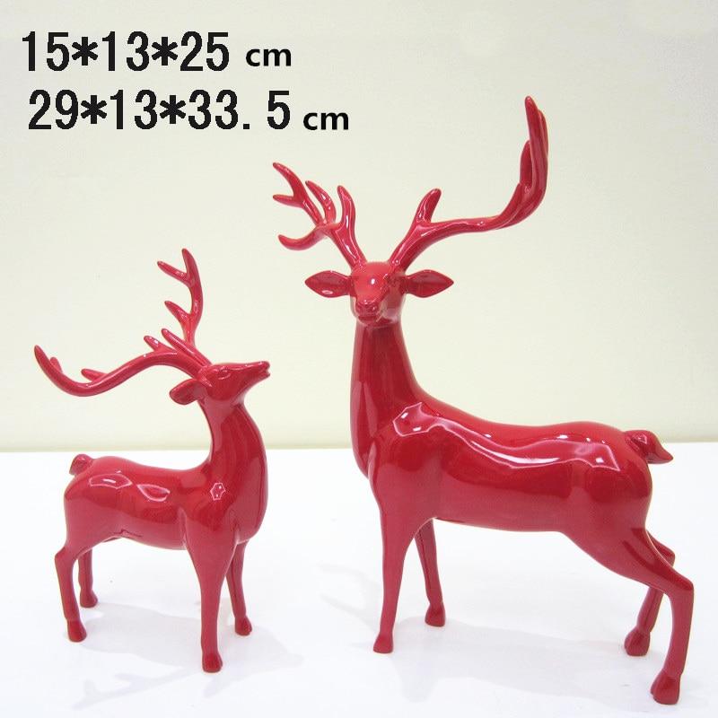 1 paar Kerst Herten Ambacht Home Decor Decoratie Moderne Figurine Miniaturen Xmas Geschenken Creatieve Hars Sculptuur Arts Ambachten