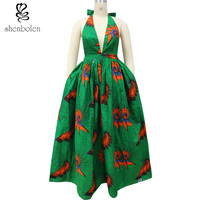 African Dresses for Women Bazin Riche Robe Africaine 2018 New Summer Dashiki Wax Print Fabric Sleeveless Sexy Party Dress