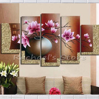 Hand painted Multi panels Purple magnolia flowers oil painting on canvas five panles magnolia wall pictures for home decoration
