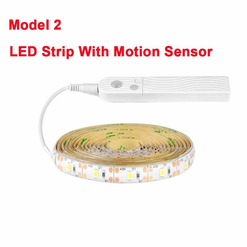 Strip LED Di Baterai PIR MOTION SENSOR Deteksi TV Backlight Lampu untuk Dapur Kamar Tidur Fita Strip LED 5V USB pita LED Lampu