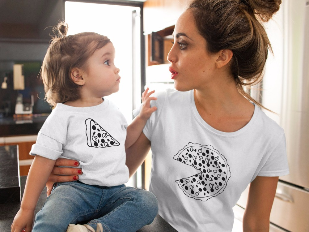Family Matching Clothes Print Pizza T-shirt Kids Tshirt Mommy And Me Clothes 2019