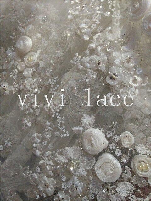 Xh824 white flower beads sequin paillette embroidery mesh tulle xh824 white flower beads sequin paillette embroidery mesh tulle french lace fabric for wedding dress mightylinksfo