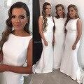 2016 Hot Sale Cheap Branco Sereia Longo Da Dama de honra Vestidos de Cetim Colher Decote do vestido de Casamento Das Mulheres Vestidos de Festa Formal Vestidos