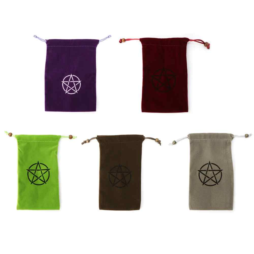 Velvet Pentagram Tarot Storage Bag Board Game Card Embroidery Drawstring Package