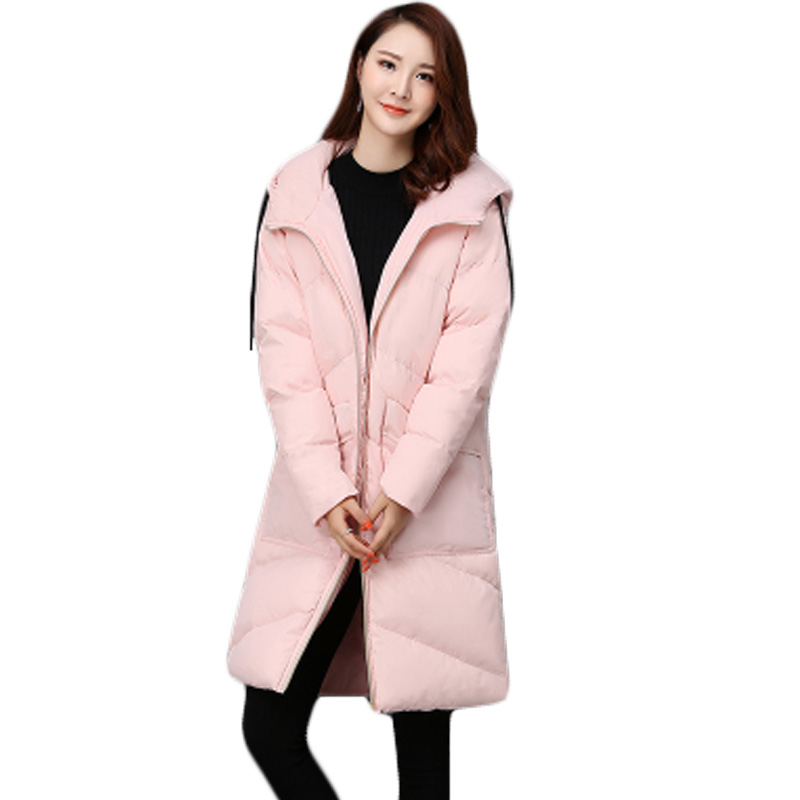 Winter Wadded Jacket Women Long Hooded Thickening Outerwear Cotton-padded Jacket Coat Female Elegant Solid Quilted Jackets XH885 winter jacket women 2017 fashion slim long cotton padded hooded jacket parka female wadded jacket outerwear winter coat women