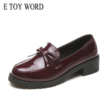 Buy E TOY WORD Women Oxfords Bow Patent Leather Shoes Female 2019 Spring Women flats Slip On brogue Woman Comfortable Ladies Shoes directly from merchant!