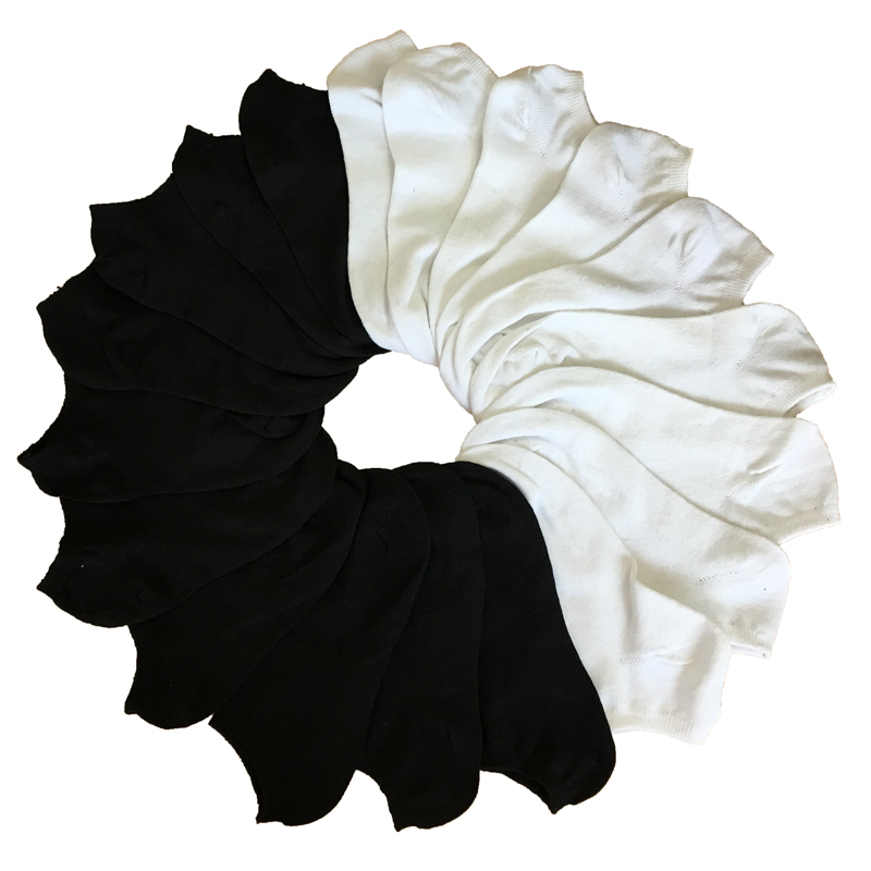Носки женские короткие, 7 пар, низкие, белые, черные, летние