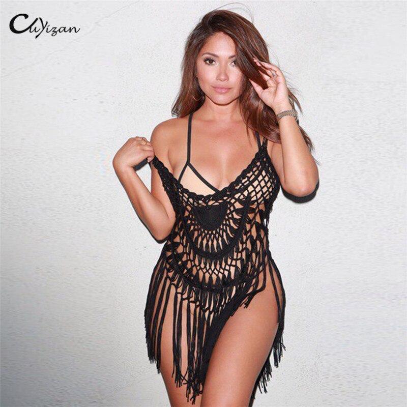 Cuyizan See Through Women Crochet Beach Dress Sexy Black Summer Dress Hollow Out Chic Tassels Knitted Beach Wear Vestido