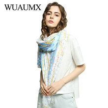 Wuaumx Brand NEW Scarf Women Dot Pattern Hijab Ladies Bandana Sunscreen Scarves Beach Shawls And Wraps sjaal Foulard Femme