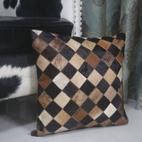 Hand made real cow leather plaid throw for furniture upholstery 45*45cm single side cowhide skin fur pillow cushion with core