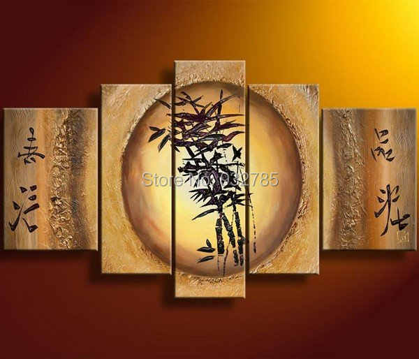 Free Shipping,100% handmade Bamboo Feng Shui oil painting canva Fortune decoration home office hotel wall art decor