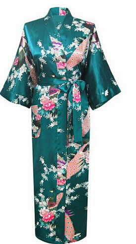brand new long robe satin rayon bathrobe nightgown for women kimono sleepwear flower plus size sxxxl s02d - Flannel Nightgowns